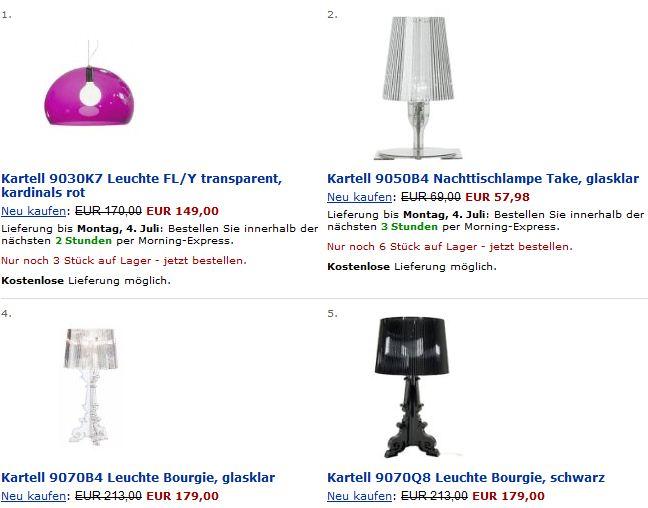 designerlampen von kartell bei amazon super g nstig kaufen frauenschn ppchen. Black Bedroom Furniture Sets. Home Design Ideas
